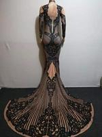 Rhinestones Sexy Long Train Dress Women Singer Dancer Outfit Bar Birthday Celebrate Dress Stage Prom Evening Dress DQS2376