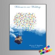 Горячая отпечатков пальцев Подпись Холст Живопись Свадьба Гостевая книга Летающий дом путешествия по всему миру для Свадебная вечеринка крещения на день рождения