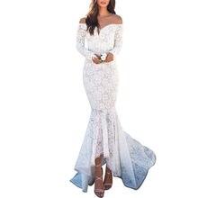 8735f0195385 Elegante Fiore di Pizzo Bianco Ricamato Maxi Vestito Lungo Da Sera A Manica  Lunga Aderente In Pizzo Partito Abiti Da Sirena