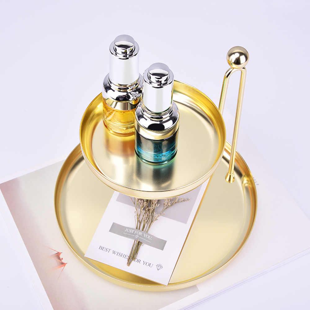 Nordic 2 Lapisan Penyimpanan Nampan Emas Perhiasan Logam Tray Display Perhiasan Kalung Mewah Dessert Plate Rumah Organizer Dekorasi