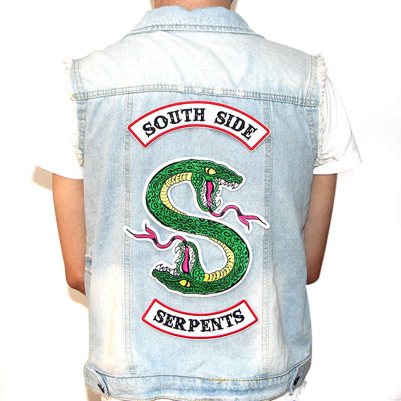 Big size RIVERDALE Green snake Southside Serpents DIY patches iron on shirt Embroidered badges for Clothes hat bag M2741