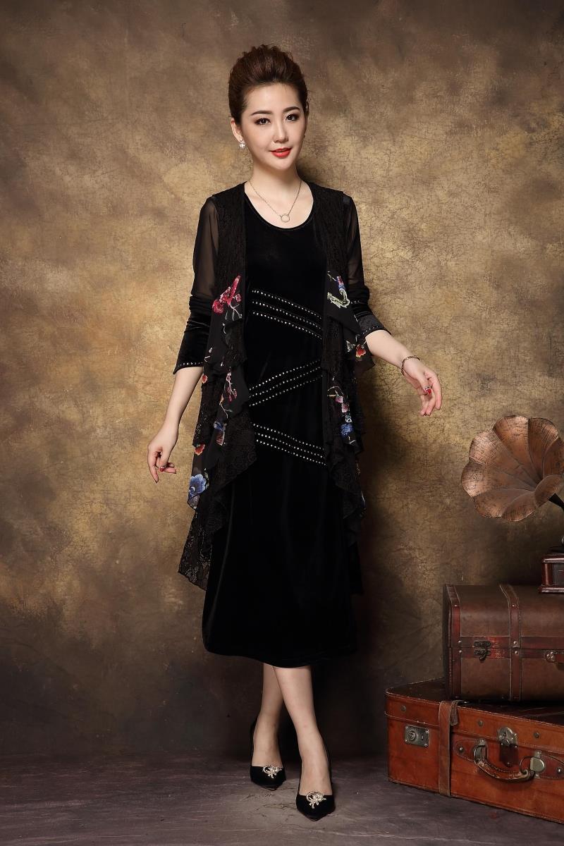 Tunique Mode De Chine Style Twinset Floral Sizexxxxl Plus Parti Femmes D'âge 2017new Robe Élégant Femelle Moyen Automne Noir tq6EFF