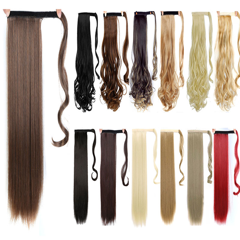 DIFEI 120g Long Straight Clip In Hair Tail False Hair Ponytail Hairpiece with Hairpins Synthetic Hair Pony Tail Hair Extension