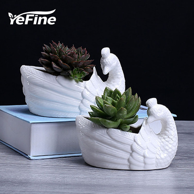 Yefine Creative Peacock Ceramic Flower Pot Cartoon Animal Green
