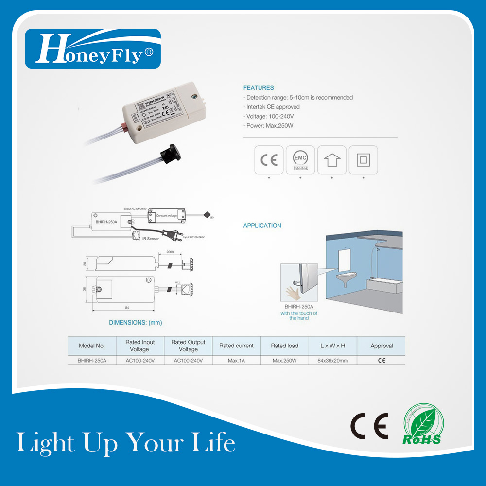 HoneyFly3pcs Patented IR Sensor Switch 250W (Max 70W For LEDs) 100-240V Infrared Sensor Switch Motion Sensor Auto On/off Switch