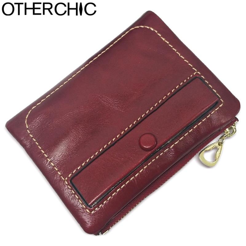 OTHERCHIC Genuine Leather Women Short Wallets Designer Fashion Small Coin Pocket Wallet Female Purse Zipper Money