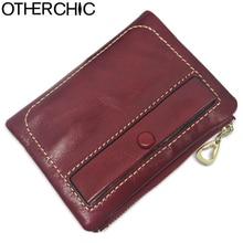OTHERCHIC Echtes Leder-frauen Kurz Geldbörsen Designer Mode Kleine Münzfach Geldbörse Weiblichen handtasche Reißverschluss Geldclip L-7N07-24