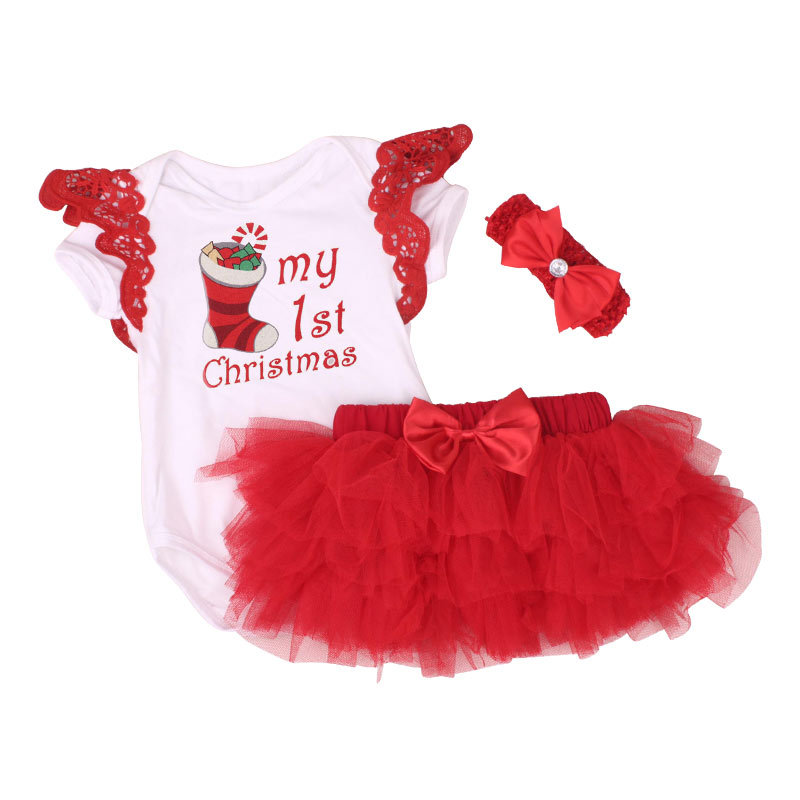 New Christmas Baby Costumes Cloth Infant Toddler Baby Girls My First Christmas Outfits Newborn Xmas Romper Set Festival Clothing цена
