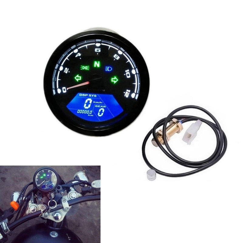 12V LED Motorcycle Odometer Bike Speedometer Digital Backlight Night Tachometer Gauge Panel Motorcycle Odometer 12000RPM vilaxh for epson p600 chip resetter for epson surecolor sc p600 printer t7601 t7609 cartridge resetter