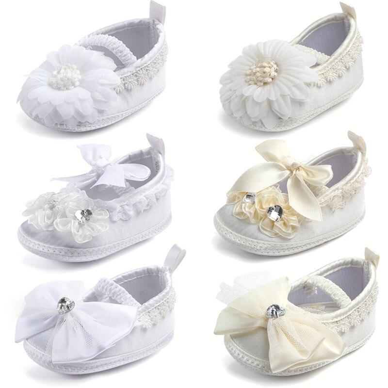 Infant Shoes Prewalker Christening Anti-Slip Ivory Baptism Bebe Girls Baby Soft-Sole
