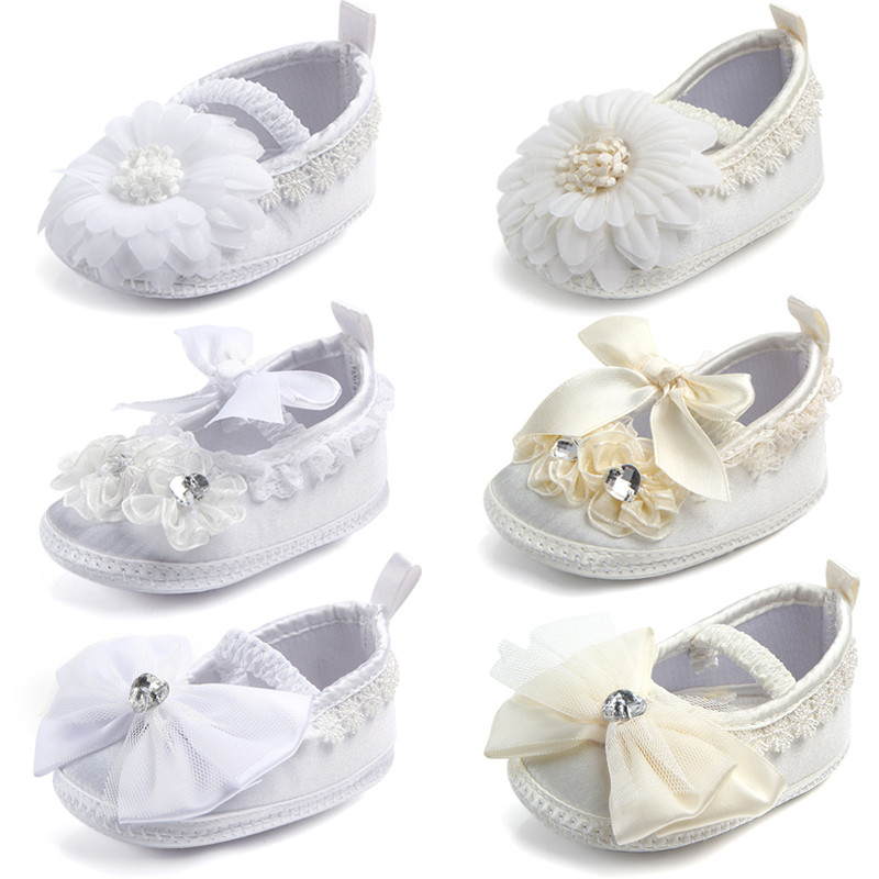 New Ivory Baby Infant Shoes Girls Anti-slip Soft Sole Prewalker Christening Baptism Zapatillas Bebe Silk Shoes