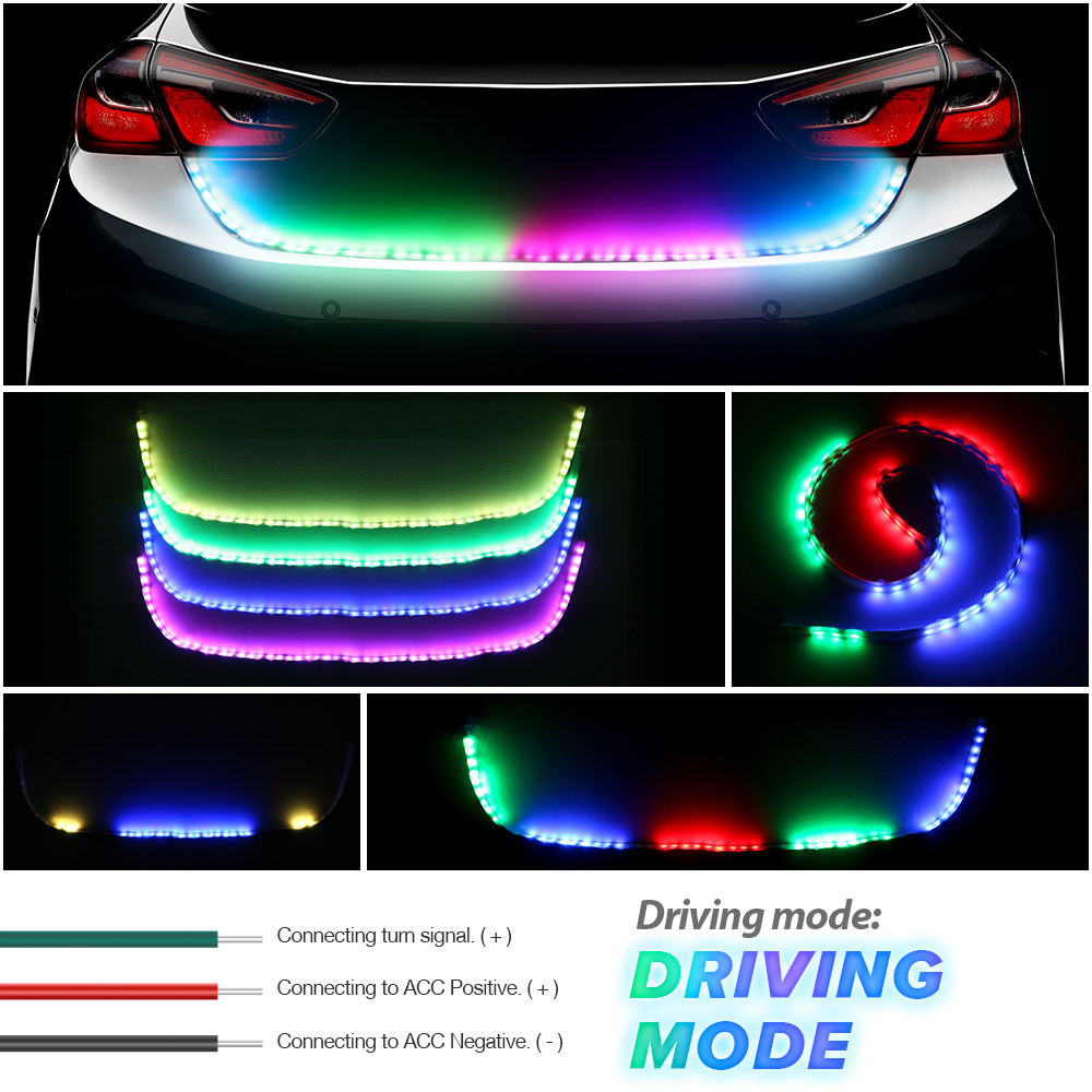цены RGB Car LED Strip Lighting Rear Trunk Tail Light Dynamic Streamer Brake Turn Signal Reverse Leds Warning Light Signal Lamp