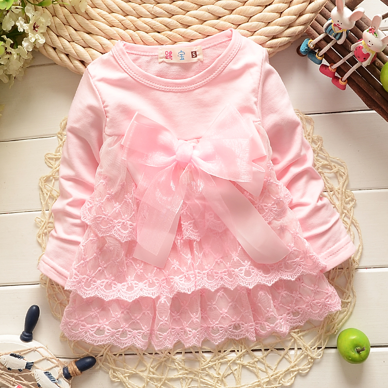 2018 Baby Lace shirts Girls bow cotton girl Princess shirt Party Toddler Kids cute long sleeve 2017 baby dress baby girl clothes toddler kids baby girls long sleeve lace cute stripe princess bow tulle party dress