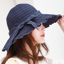 Sun hat new ladies bow big basin spring summer tide outdoor sun protection cloth cap folding