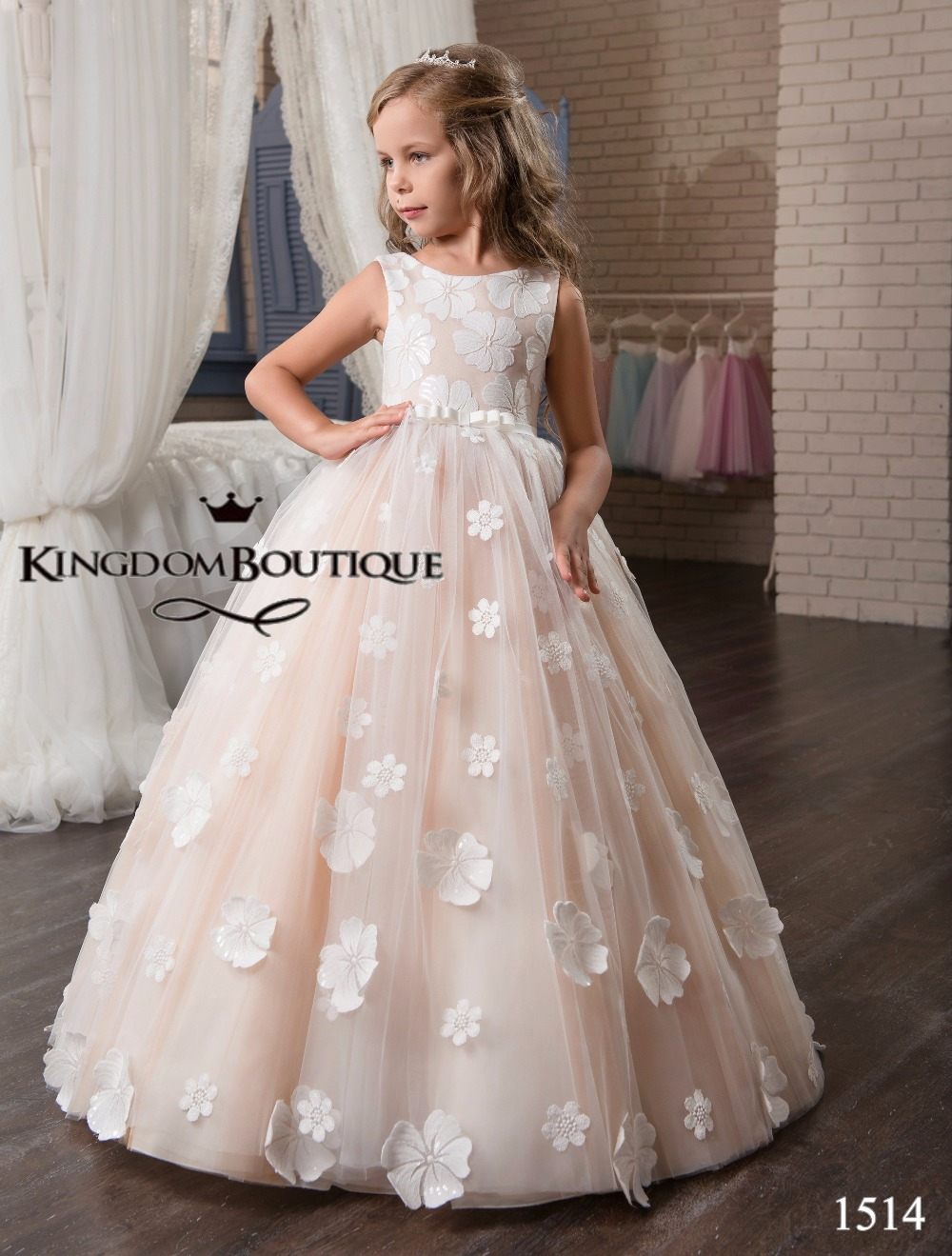 Christmas wedding dress zipper - Facny Floral Flower Girl Dresses Holy Communion Pink Sleeveless V Zipper Back Floor Length Appliques Christmas