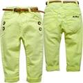 6338 детские случайные штаны мальчик брюки эластичный пояс девушки дети весна и осень красивый ребенок мода эластичный пояс зеленый и желтый