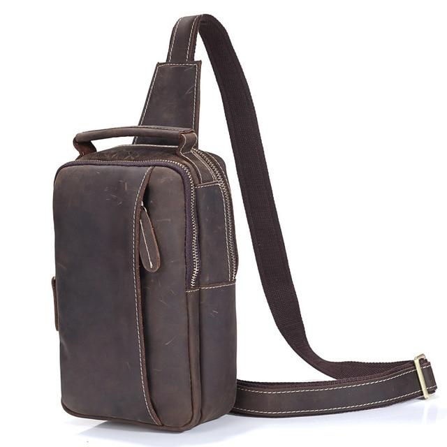 6195ffd46d Men s Genuine Cowhide Leather Vintage Shoulder Messenger Cross Body Bag  Sling Bags Handbag For Gift Men Crossbody Casual