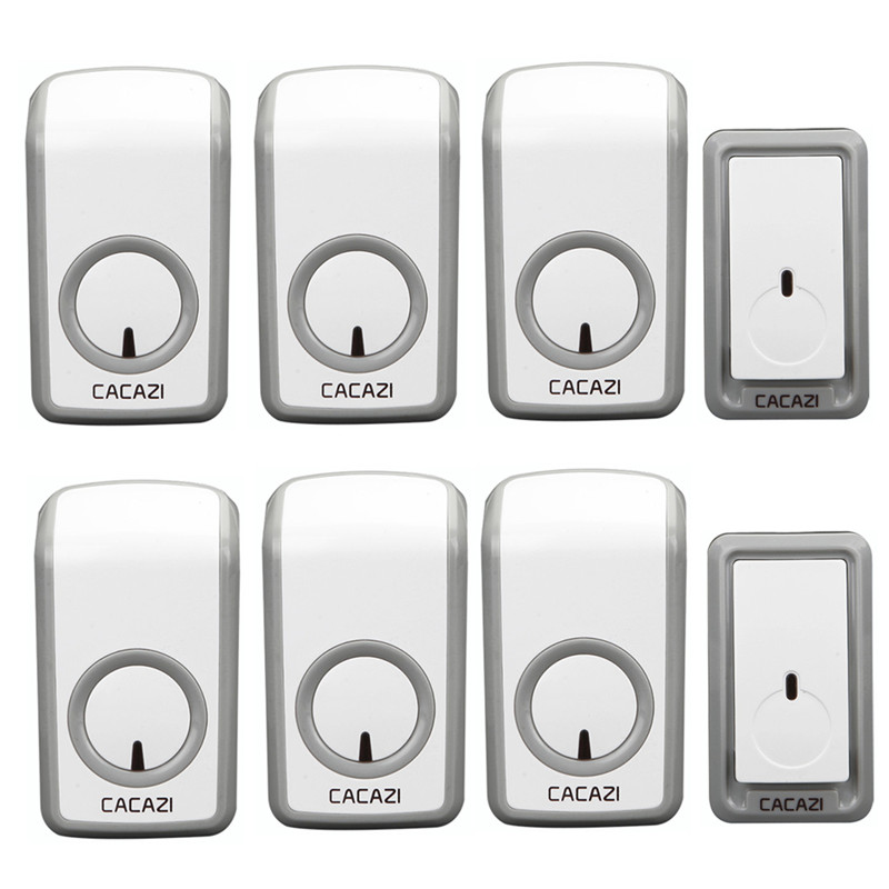 CACAZI wireless doorbell 2 waterproof buttons+6 AC 110-220V plug-in receivers door bell 48 chimes 6 volume adjustable door ring cacazi ac 110 220v wireless doorbell 1 transmitter 6 receivers eu us uk plug 300m remote door bell 3 volume 38 rings door chime