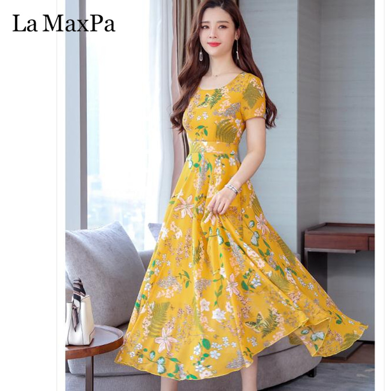 La MaxPa Dress Of The Big Sizes Fashion Print Chiffon Dress 2019 New Summer O Neck A-Line 3XL Plus Size Causal Dresses 5