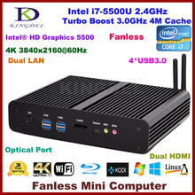 Безвентиляторный Mini PC HTPC Intel 5-го поколения i7-5500U Бродуэлла ПРОЦЕССОРА, Intel HD Graphics5500 Ultra HD 4 К 2 * Gigabit LAN + 2 * HDMI + SPDIF + 4 * USB3.0