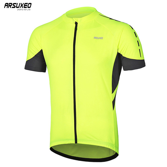 ARSUXEO Men's  Full Zipper Cycling Jersey  Bicycle Bike  Shirt Short Sleeves MTB Mountain bike Jerseys  Clothing  Wear 636