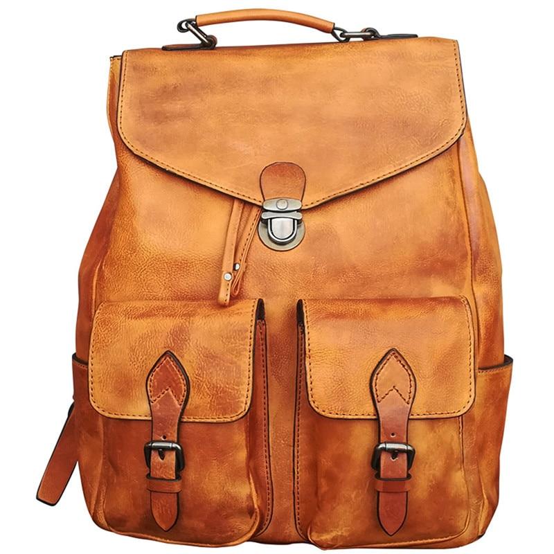 Рюкзак роскошные мужские сумки натуральная кожа простой военный Стиль дорожная сумка большая Ёмкость ретро