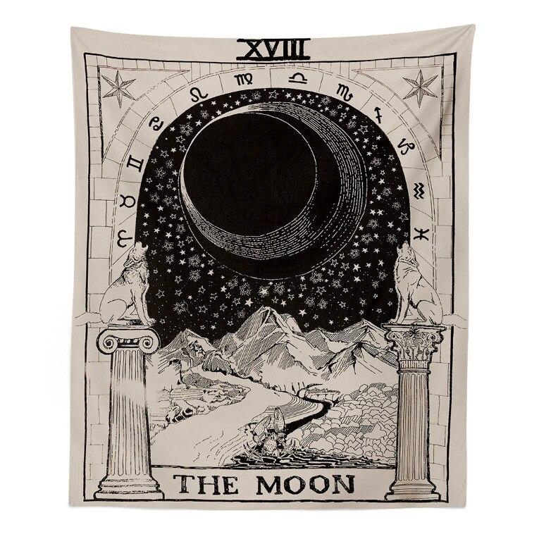Tapisserie soleil étoiles lune lit tête chambre salon mur décoration tenture murale tissu nappe fond tissu suspendu