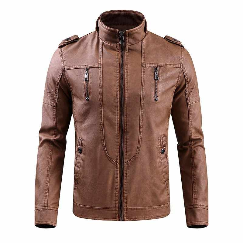 d86d37c0d KOSMO MASA Brown Motorcycle Casual Faux Leather Jacket for Men Autumn  Winter Pilot Pu Male Leather Jacket Big Sizes MF016