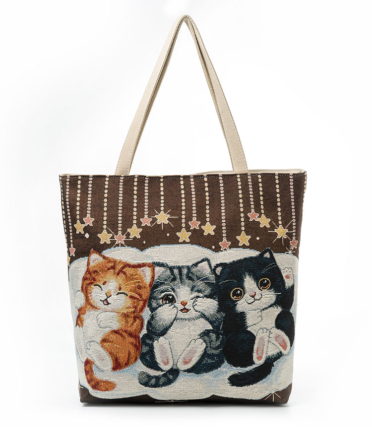 Cute Embroidered Kittens Handbag