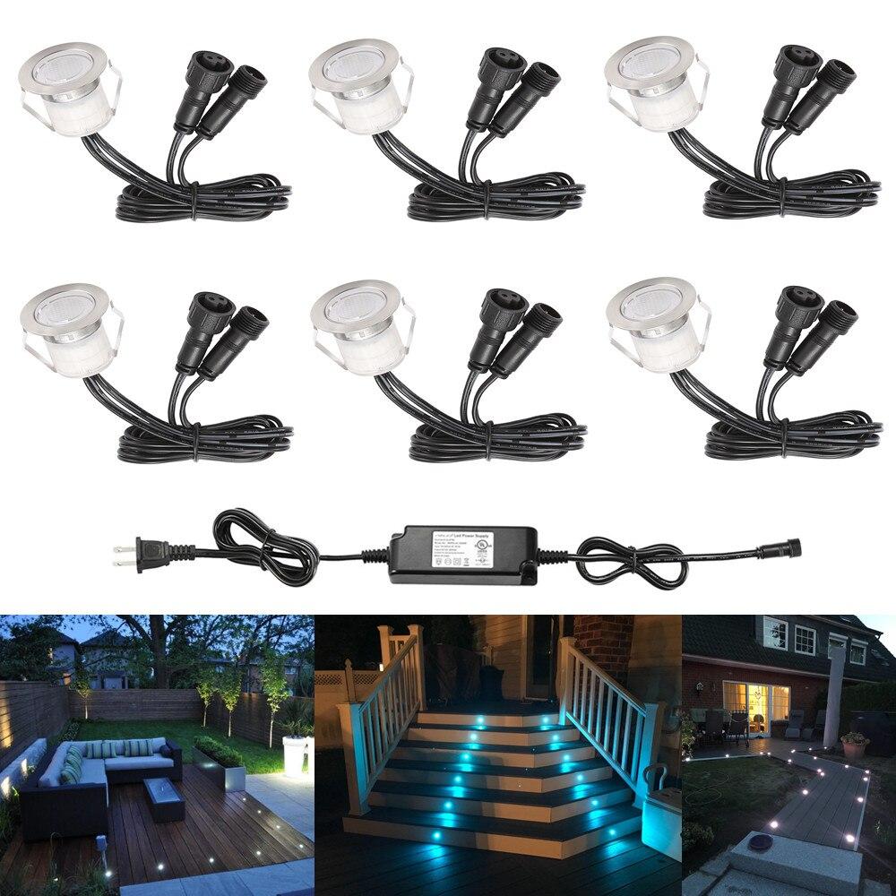 6 stks/partij 30mm 12V Terras LED Dek Trap Stap Rail Verlichting Waterdicht Yard Garden Pathway Patio Landschap lamp