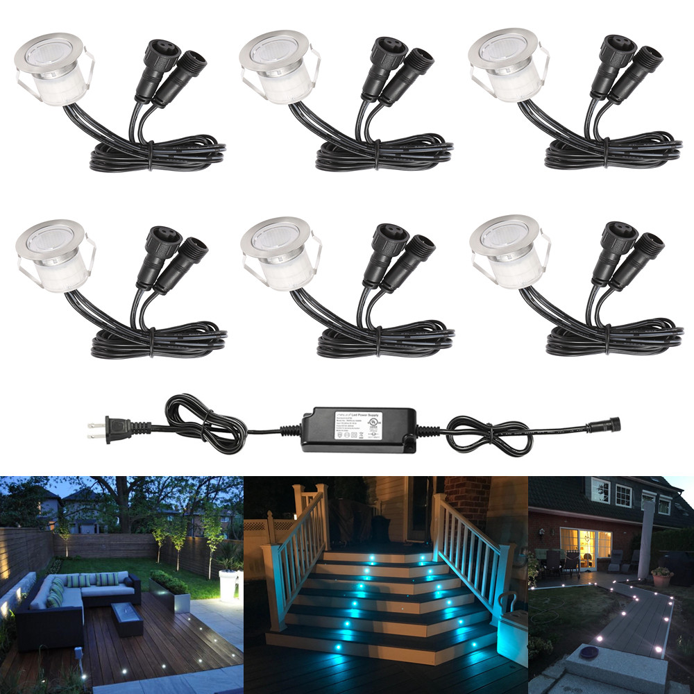6Pcs/lot 30mm 12V Outdoor Terrace LED Deck Stair Step Rail Lights Waterproof Yard Garden Pathway Patio Landscape Lamp