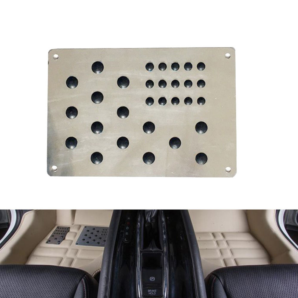 Universal Silver Auto Vloermat Voet Hak Scuff Plaat Antislip Tapijt Patch Automobile Legering Slijtage Plaat Anti- skid Pad