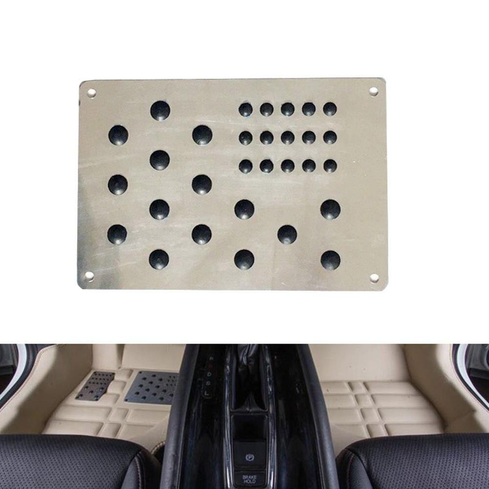 Uniwersalny srebrny samochód mata podłogowa stopa pięta płyta chroniąca przed zarysowaniem antypoślizgowa podkładka dywanowa stop samochodowy płyta antypoślizgowa