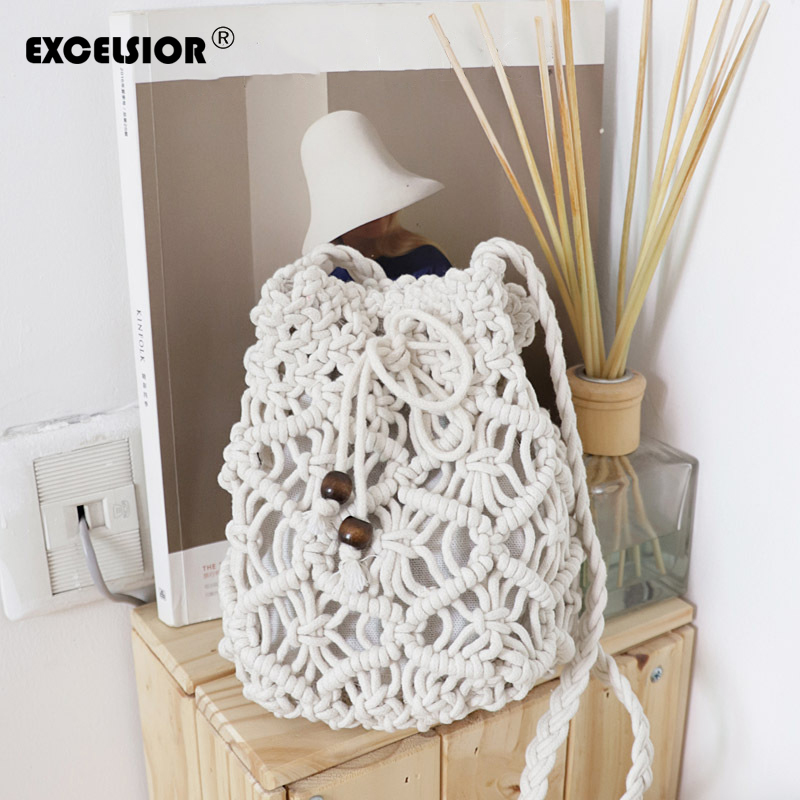 EXCELSIOR New Arrival Womens Bag String Handbag Hollow Out Weave Bucket Shoulder Bags Crossbody Mini Beach Bag Summer StyleEXCELSIOR New Arrival Womens Bag String Handbag Hollow Out Weave Bucket Shoulder Bags Crossbody Mini Beach Bag Summer Style