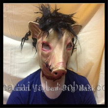 2016 New Saw 3 Pig Scary Mask Adults Full Face Animal Latex Pig Masks Halloween Horror Masquerade Mask With Hair in stock