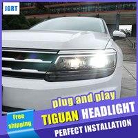 Стайлинга автомобилей фар сборки 2017 для VW Tiguan светодиодный объектив двойной луч H7 hid комплект с 2 шт..