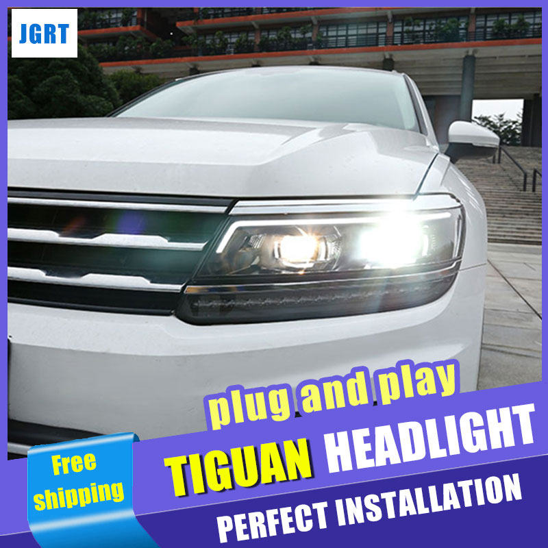 Car Styling Headlight assembly 2017 for VW Tiguan LED Lens Double Beam H7 hid kit with 2pcs. hireno headlamp for volkswagen tiguan 2017 headlight headlight assembly led drl angel lens double beam hid xenon 2pcs