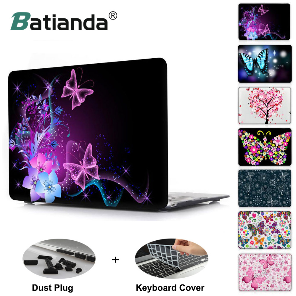 Butterfly Series Clear Case Cover For Apple macbook Pro Retina 12 13 15 Laptop Hard Shell For Air 11.6 13.3 inch New Touch Bar transparent crystal plastic hard clear case cover skin for new macbook 12 retina free shipping