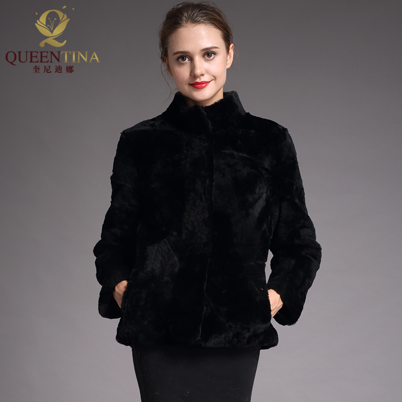 2018 Genuine Fur Real Sheepskin Coat Women Winter Fashion Wool Coat Female Mandarin Collar Warm Sheep Shearing Jacket Outercoats