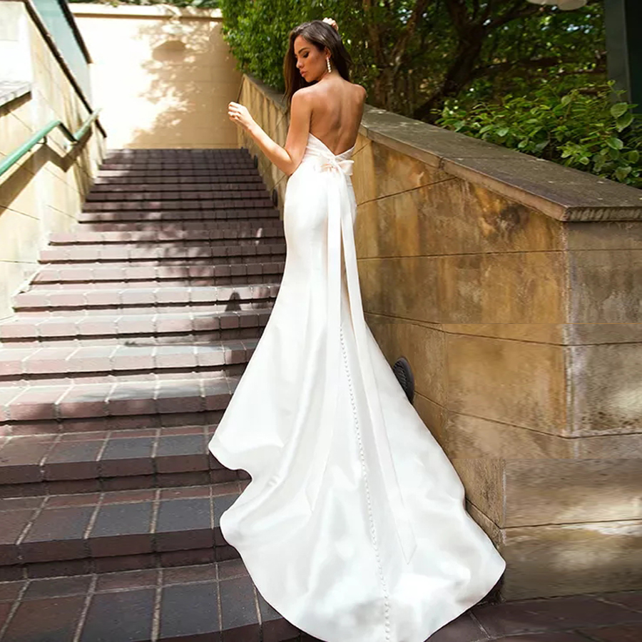 Satin Mermaid Wedding Gown With Removable Off-The-Shoulder 3/4 Sleeves Lace Jacket Bow Back Bridal Dress Robe Mariage