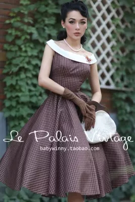 Classique À Arc Vintage Grande Couleur Printemps Midi Rockabilly Rétro Robe 60 Automne Carreaux Robes Balançoire Frappé S Femmes 50 ICPqwtC