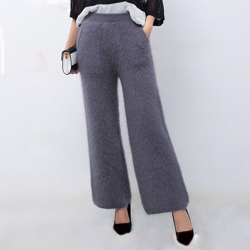 LOVELYDONKEY femmes d'hiver de vison cachemire tricoté pantalon chaud épais large jambe pantalon livraison gratuite M1112