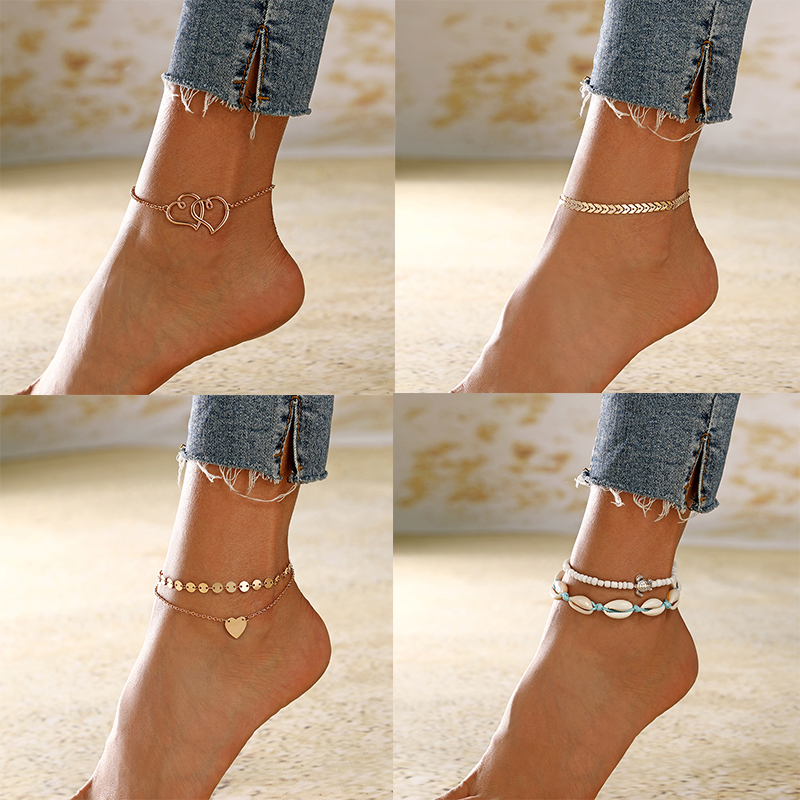 XIYANIKE 2019 Vintage Gold Silver Color Multilayer Anklets For Women Bohemian Star Shell Beads Leaves Anklet Bracelet DIY Boho
