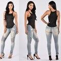 2016 Mujeres de Otoño de Mezclilla Pantalones de Cintura Alta Stretch Jeans Pantalones Lápiz Delgado Flaco Rasgado