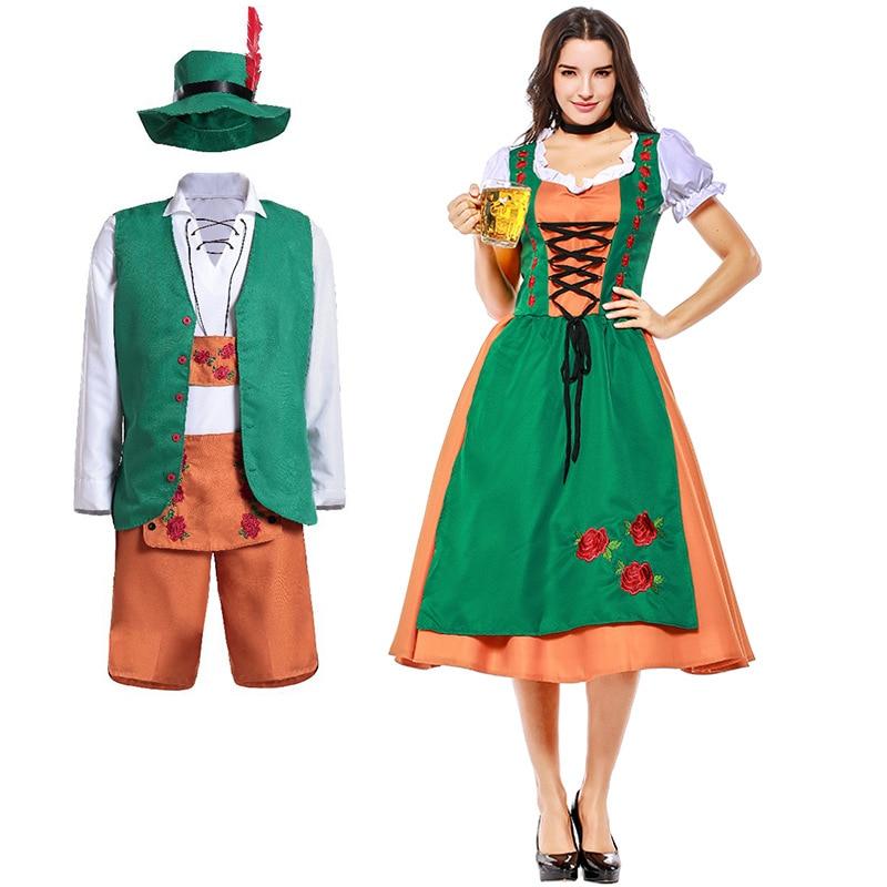 Bavarian Oktoberfest Costume Couples Women  Man Beer Party Green Long Dress Lederhosen Dirndl Outfit