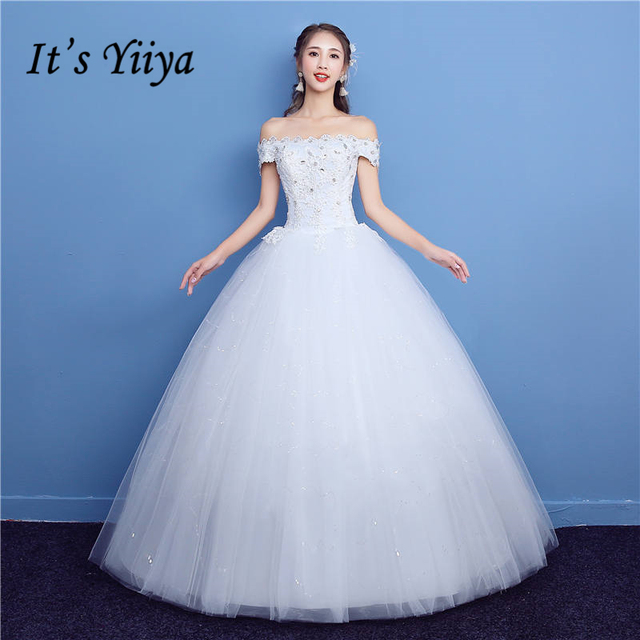 It\'s YiiYa Off White New Sleeveless Boat Neck Bride Dresses Pattern ...