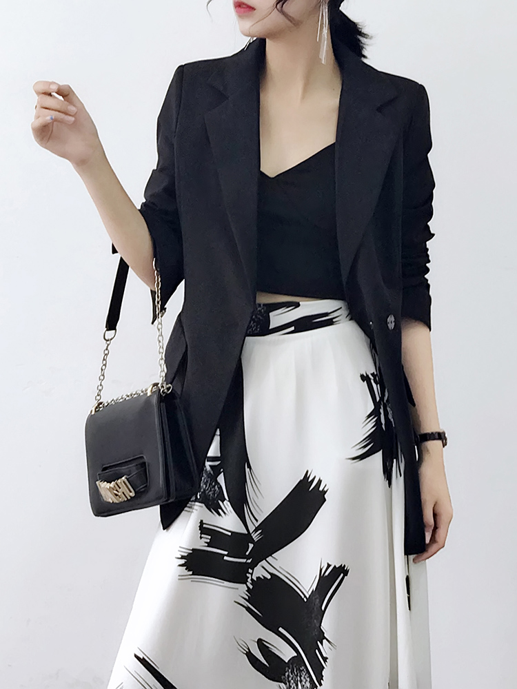 Solid Women Suits Blazers  jacket female  Autumn 2018 New thin chic Business Work Office Suit blazer feminino Black White blazer