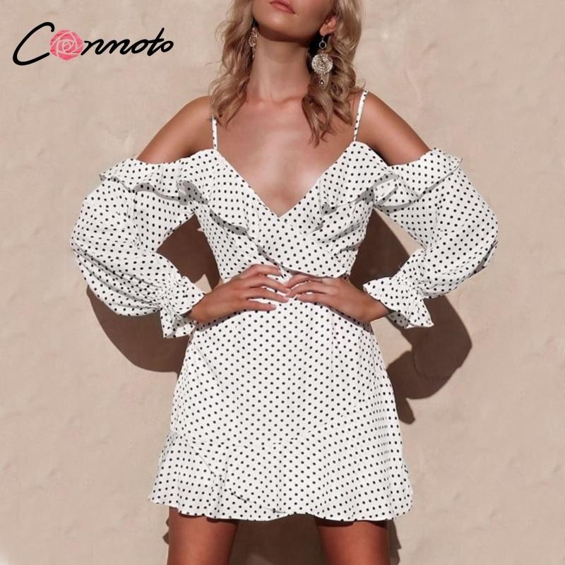 Conmoto Long Sleeve Off White Sexy Dress Cold Shoulder Ruffle Party Dress Casual Polka Dot Women Dress Vestidos