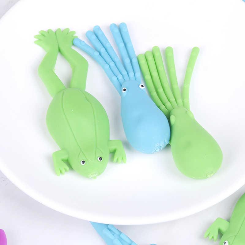 Jeux de dessins animés, nouveauté et pratique, 1 pièce, jouets en caoutchouc pour le rire, dessin animé, extensible, animaux marins, collant au doigt