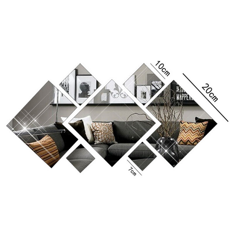 Aliexpress.com : Buy [Fundecor] New 3d Diamond Acrylic Mirrored Decorative  Sticker Diy Bathroom Mirror Adhesive Wall Tile Home Decor Decals From  Reliable ...